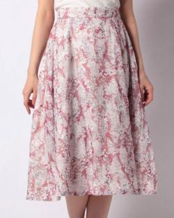 Fabulous Angela 楊柳刺繍ぼかしフラワープリントスカート