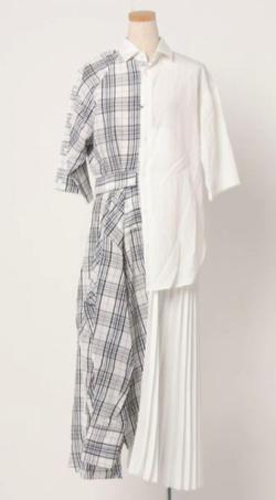 THE KEIJI PLEATED PANEL CHECK ASYMMETRIC SHIRT DRESS