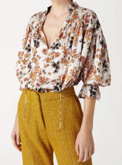 Victoria Beckham Tie-sleeve Overshirt in Ditsy Floral Print