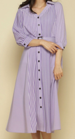 And Couture ストライプミックス7分袖シャツワンピース