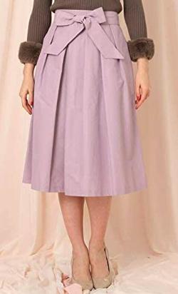 Couture Brooch(クチュールブローチ)グログランフレアスカート(パープル)