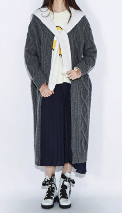 LUCKYCHOUETTE(ラッキーシュエット) Collar Color Block Cable Knit Long Cardigan