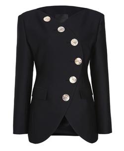 YCH Collarless Wool-Blend Blazer