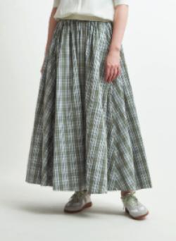 yori チェックギャザースカート