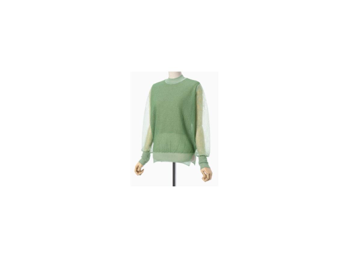 堀田真由さんが【ゼクシィ】のCMの中で着用している服(服装)・衣装(洋服・ファッション・ブランド・バッグ・アクセサリー等)やコーデ【ゼクシィ】2020年CM♪《堀田真由》さん着用グリーンの袖シースルーニット