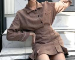 MERONGSHOP ボタンチェックシャツ×フロントプリーツミニスカート