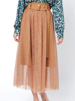 REDYAZEL  ベルト付チュールデザインスカート
