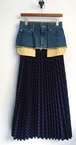 THE KEIJI DETACHABLE DENIM PANEL STRIPE PLEATED SKIRT