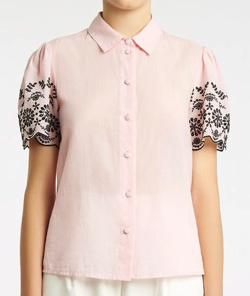 be blumarine Cotton shirt with broderie anglaise embroidery