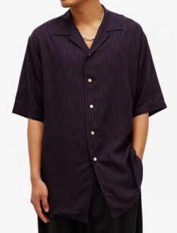 Bed J.W. Ford Striped Cuban-collar twill shirt