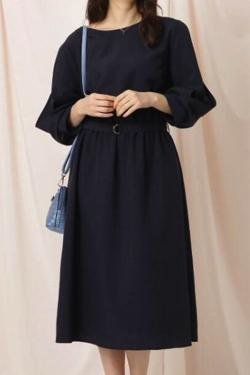 Couture Brooch リネンライク袖デザインワンピース