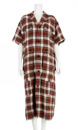 G.V.G.V. PLAID OPEN COLLAR SHIRT DRESS