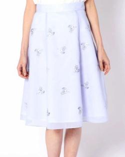 LAISSE PASSE シアーストライプ刺繍スカート