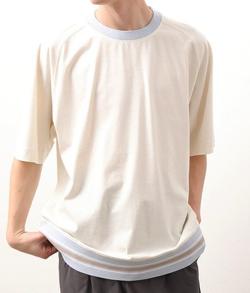 JUNRed ボトムリブライン ラグランTシャツ