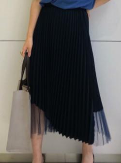 CAST: チュールコンビラップアシンメトリースカート