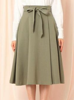 Couture brooch ベルテッドフレアリネンライクミモレスカート