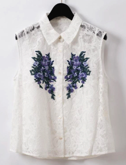 GRACE CONTINENTAL 刺繍レースシャツノースリーブ
