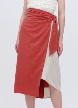 LOVELESS バイカラー ラップスカート
