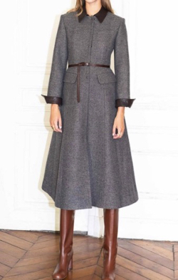 AND YOU Pantheon Detachable Collar A-line Coat Dark Gray