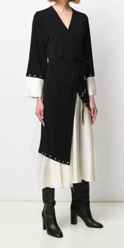 TORY BURCH (トリーバーチ)mixed-material wrap dress