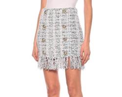 BALMAIN fringed tweed mini skirt