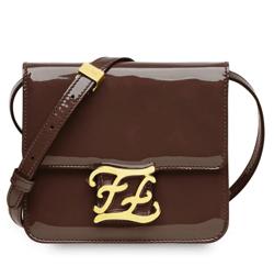 FENDI(フェンディ)Karligraphy Brown Pantent Leather Bag