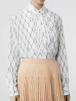 BURBERRY(バーバリー)crystal detail net print silk shirt