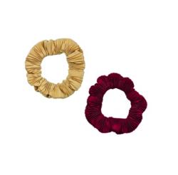 KATENKELLY  shirring scrunchie burgundy duo