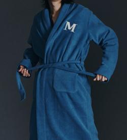 EMIS sky blue fleece robe for women