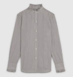 CELINE(セリーヌ) stripped classic shirt frill collar