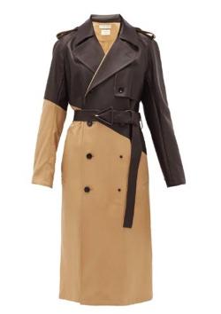BOTTEGA VENETA(ボッテガヴェネタ)Double-breasted leather and gabardine trench coat
