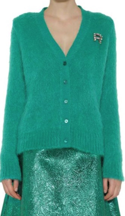 ROCHAS Alpaca Knit Cardigan In GreenRochas  METALLIC BROCADE A -LINE SKIRT