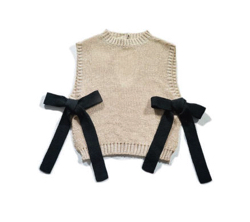 dearie dada tie knit vest / biscuit × black