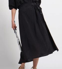 INDIVI ストライプ巻き風スカート