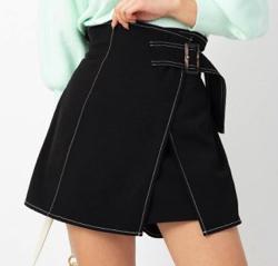 CECIL McBEE 配色ステッチラップスカート風パンツ