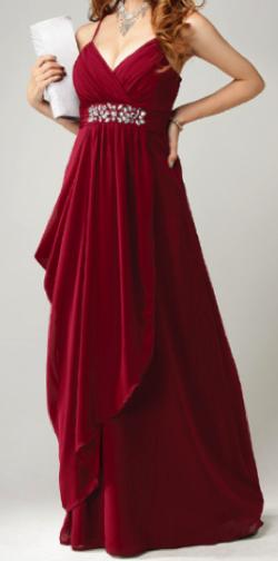 Dress Line エレガントシルエ シフォンドレープ ロングドレス