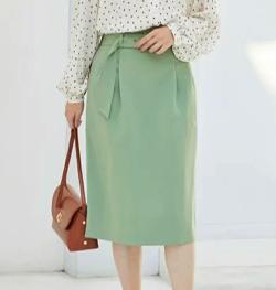 ViS 【EASY CARE】ハイウエストベルト付きタイトスカート