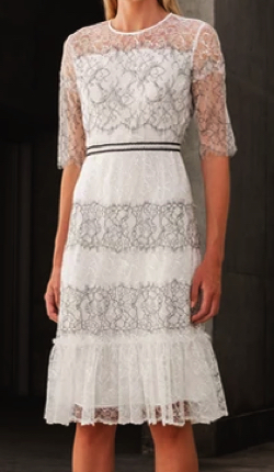 RICK RHE BLACK & WHITE ESTATE CHANTILLY LACE DRESS