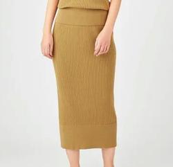 JOSEPH WOMEN ツイストコットンリブ スカート
