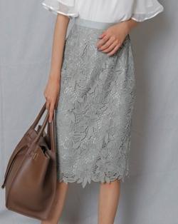 JUSGLITTY ケミカルフラワーレースタイトスカート