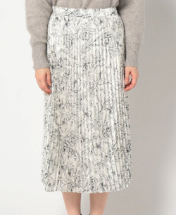 NOLLEY'S 糸目フラワー柄パールシフォンプリーツスカート