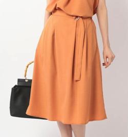 MEW'S REFINED CLOTHES ウォッシャブルベルト付フレアスカート