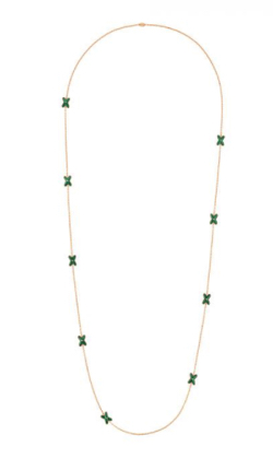 JEUX DE LIENS ROSE GOLD AND MALACHITE LONG NECKLACE WITH DIAMONDS