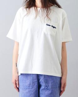 CUBE SUGAR 天竺×ニット ピグメント染め ポケット付 Tシャツ