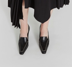 RECTO leather heeled loafers