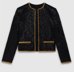 CELINE embroided crew neck jacket in wool gabardine