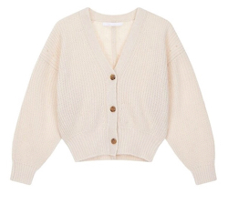 VOICE OF VIOCES v-fleeces puff sleeve short cardigan