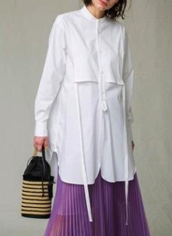 MAISON SPECIAL(メゾンスペシャル)コットンスタンドカラーロングシャツ