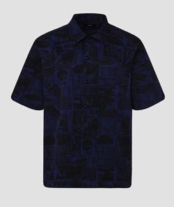 DISEL メンズ 総柄 プリント ボウリングシャツ
