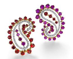 QAYTEN Paisley collection earrings with sapphires and diamonds